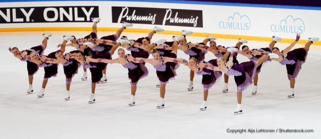 group of synchronized figure skaters
