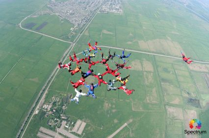 skydivers in formation
