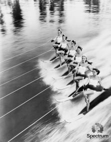 black and white image of a row of women water skiing