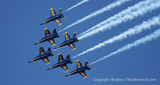 Navy Blue Angels Airplanes in formation