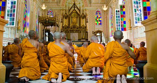 buddhist monks in a temple