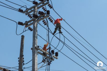 line workers in action