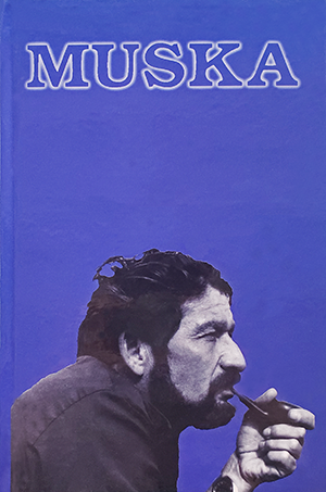 purple cover with image of a man